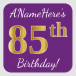 [ Thumbnail: Purple, Faux Gold 85th Birthday + Custom Name Sticker ]