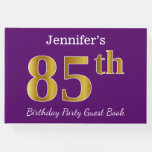 [ Thumbnail: Purple, Faux Gold 85th Birthday Party; Custom Name Guest Book ]