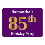 [ Thumbnail: Purple, Faux Gold 85th Birthday Party; Custom Name Invitation ]