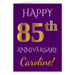 [ Thumbnail: Purple, Faux Gold 85th Wedding Anniversary + Name ]