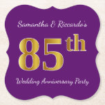 [ Thumbnail: Purple, Faux Gold 85th Wedding Anniversary Party Paper Coaster ]