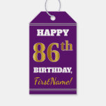 [ Thumbnail: Purple, Faux Gold 86th Birthday + Custom Name Gift Tags ]
