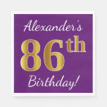 [ Thumbnail: Purple, Faux Gold 86th Birthday + Custom Name Paper Napkin ]