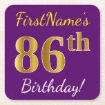 [ Thumbnail: Purple, Faux Gold 86th Birthday + Custom Name Paper Coaster ]