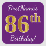 [ Thumbnail: Purple, Faux Gold 86th Birthday + Custom Name Sticker ]