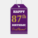 [ Thumbnail: Purple, Faux Gold 87th Birthday + Custom Name Gift Tags ]