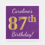 [ Thumbnail: Purple, Faux Gold 87th Birthday + Custom Name Napkin ]