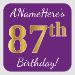 [ Thumbnail: Purple, Faux Gold 87th Birthday + Custom Name Sticker ]