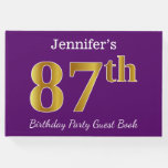 [ Thumbnail: Purple, Faux Gold 87th Birthday Party; Custom Name Guest Book ]