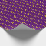 [ Thumbnail: Purple, Faux Gold 87th (Eighty-Seventh) Event Wrapping Paper ]
