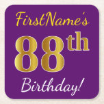 [ Thumbnail: Purple, Faux Gold 88th Birthday + Custom Name Paper Coaster ]