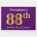 [ Thumbnail: Purple, Faux Gold 88th Birthday Party; Custom Name Guest Book ]
