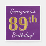 [ Thumbnail: Purple, Faux Gold 89th Birthday + Custom Name Paper Napkin ]