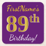 [ Thumbnail: Purple, Faux Gold 89th Birthday + Custom Name Paper Coaster ]