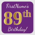[ Thumbnail: Purple, Faux Gold 89th Birthday + Custom Name Sticker ]