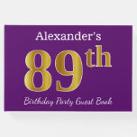 [ Thumbnail: Purple, Faux Gold 89th Birthday Party; Custom Name Guest Book ]