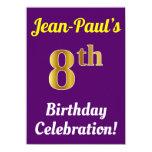 [ Thumbnail: Purple, Faux Gold 8th Birthday Celebration + Name Invitation ]