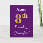 [ Thumbnail: Purple, Faux Gold 8th Birthday + Custom Name Card ]