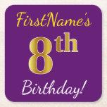 [ Thumbnail: Purple, Faux Gold 8th Birthday + Custom Name Paper Coaster ]