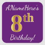 [ Thumbnail: Purple, Faux Gold 8th Birthday + Custom Name Sticker ]