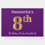 [ Thumbnail: Purple, Faux Gold 8th Birthday Party + Custom Name Guest Book ]