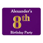 [ Thumbnail: Purple, Faux Gold 8th Birthday Party + Custom Name Invitation ]