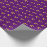[ Thumbnail: Purple, Faux Gold 8th (Eighth) Event Wrapping Paper ]