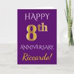 [ Thumbnail: Purple, Faux Gold 8th Wedding Anniversary + Name Card ]