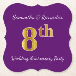 [ Thumbnail: Purple, Faux Gold 8th Wedding Anniversary Party Paper Coaster ]