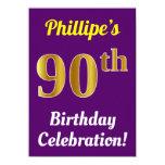 [ Thumbnail: Purple, Faux Gold 90th Birthday Celebration + Name Invitation ]