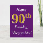 [ Thumbnail: Purple, Faux Gold 90th Birthday + Custom Name Card ]