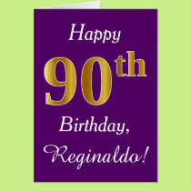 Purple, Faux Gold 90th Birthday   Custom Name Card