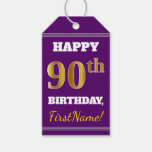 [ Thumbnail: Purple, Faux Gold 90th Birthday + Custom Name Gift Tags ]