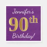 [ Thumbnail: Purple, Faux Gold 90th Birthday + Custom Name Paper Napkin ]