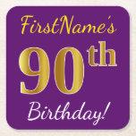 [ Thumbnail: Purple, Faux Gold 90th Birthday + Custom Name Paper Coaster ]
