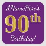 [ Thumbnail: Purple, Faux Gold 90th Birthday + Custom Name Sticker ]