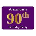 [ Thumbnail: Purple, Faux Gold 90th Birthday Party; Custom Name Invitation ]