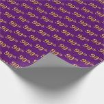 [ Thumbnail: Purple, Faux Gold 90th (Ninetieth) Event Wrapping Paper ]