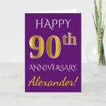 [ Thumbnail: Purple, Faux Gold 90th Wedding Anniversary + Name Card ]