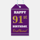 [ Thumbnail: Purple, Faux Gold 91st Birthday + Custom Name Gift Tags ]