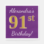 [ Thumbnail: Purple, Faux Gold 91st Birthday + Custom Name Napkin ]