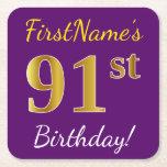 [ Thumbnail: Purple, Faux Gold 91st Birthday + Custom Name Paper Coaster ]