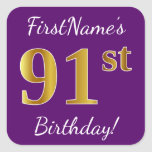 [ Thumbnail: Purple, Faux Gold 91st Birthday + Custom Name Sticker ]