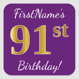 Purple, Faux Gold 91st Birthday + Custom Name Square Sticker