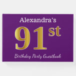 [ Thumbnail: Purple, Faux Gold 91st Birthday Party; Custom Name Guest Book ]