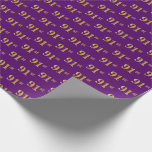 [ Thumbnail: Purple, Faux Gold 91st (Ninety-First) Event Wrapping Paper ]