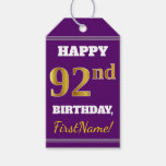 [ Thumbnail: Purple, Faux Gold 92nd Birthday + Custom Name Gift Tags ]