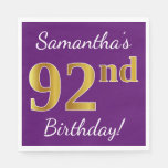 [ Thumbnail: Purple, Faux Gold 92nd Birthday + Custom Name Paper Napkin ]