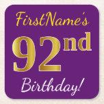 [ Thumbnail: Purple, Faux Gold 92nd Birthday + Custom Name Paper Coaster ]