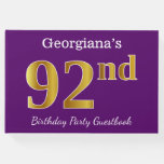 [ Thumbnail: Purple, Faux Gold 92nd Birthday Party; Custom Name Guest Book ]